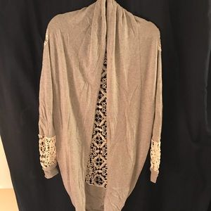 Open front lace back cardigan